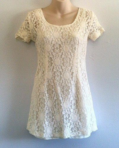Vintage Early 90s Grunge Lace Minidress or Tunic