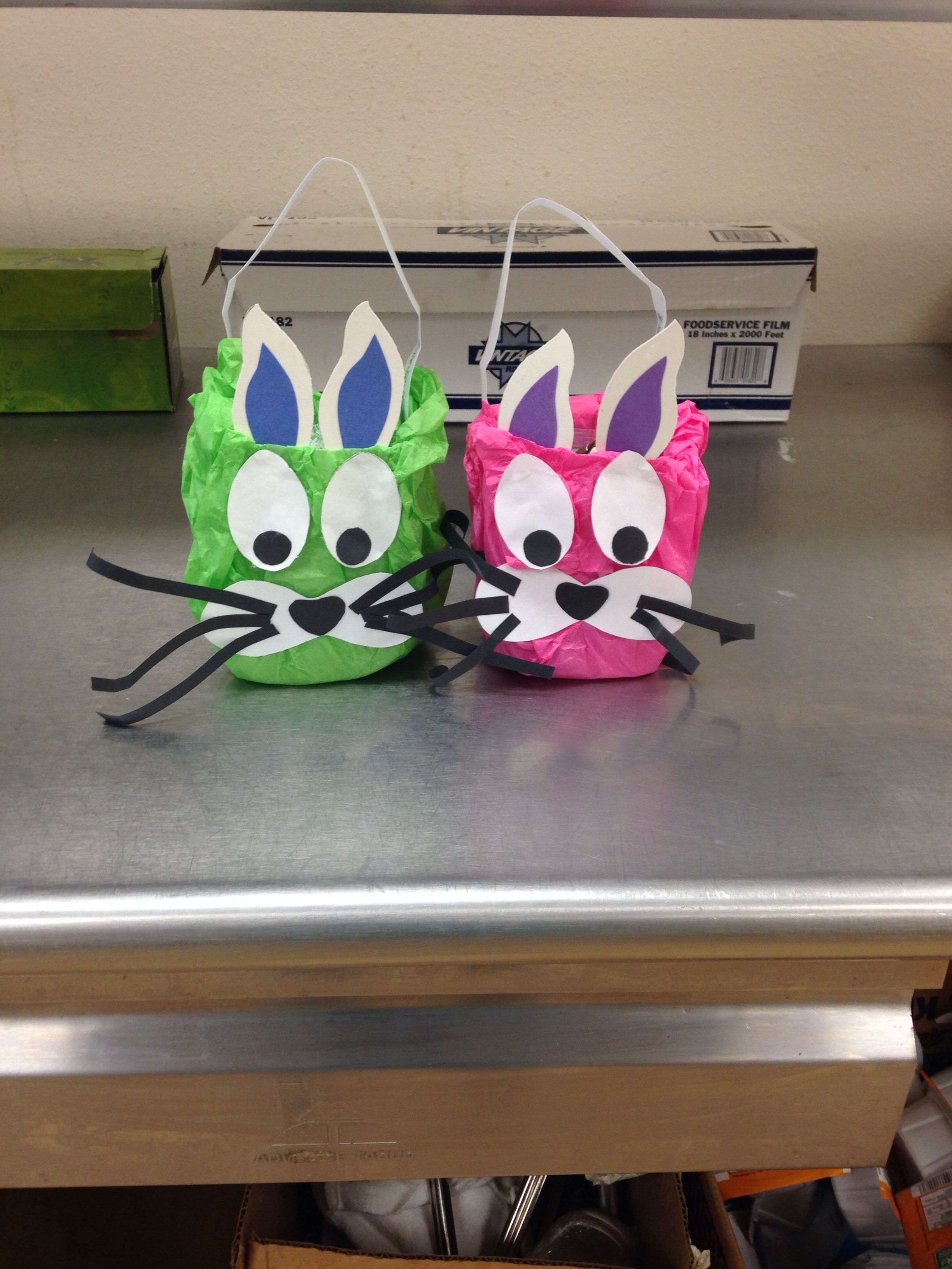 Easter baskets made from milk cartons bunny face