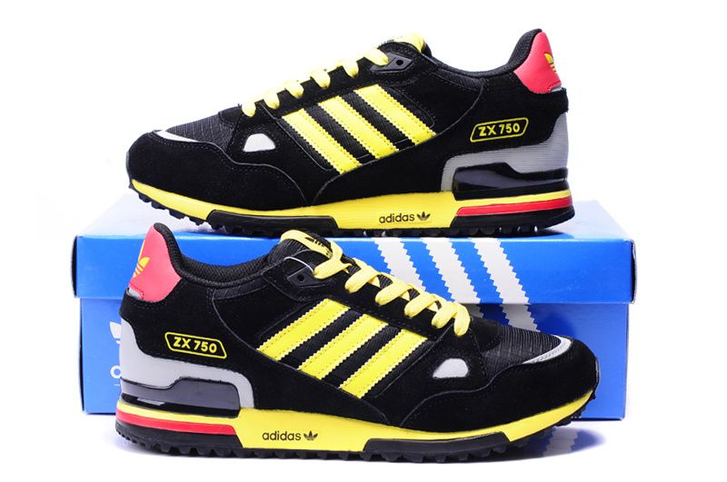 Adidas Originals ZX 750 Mens Shoes Black Yellow White Red