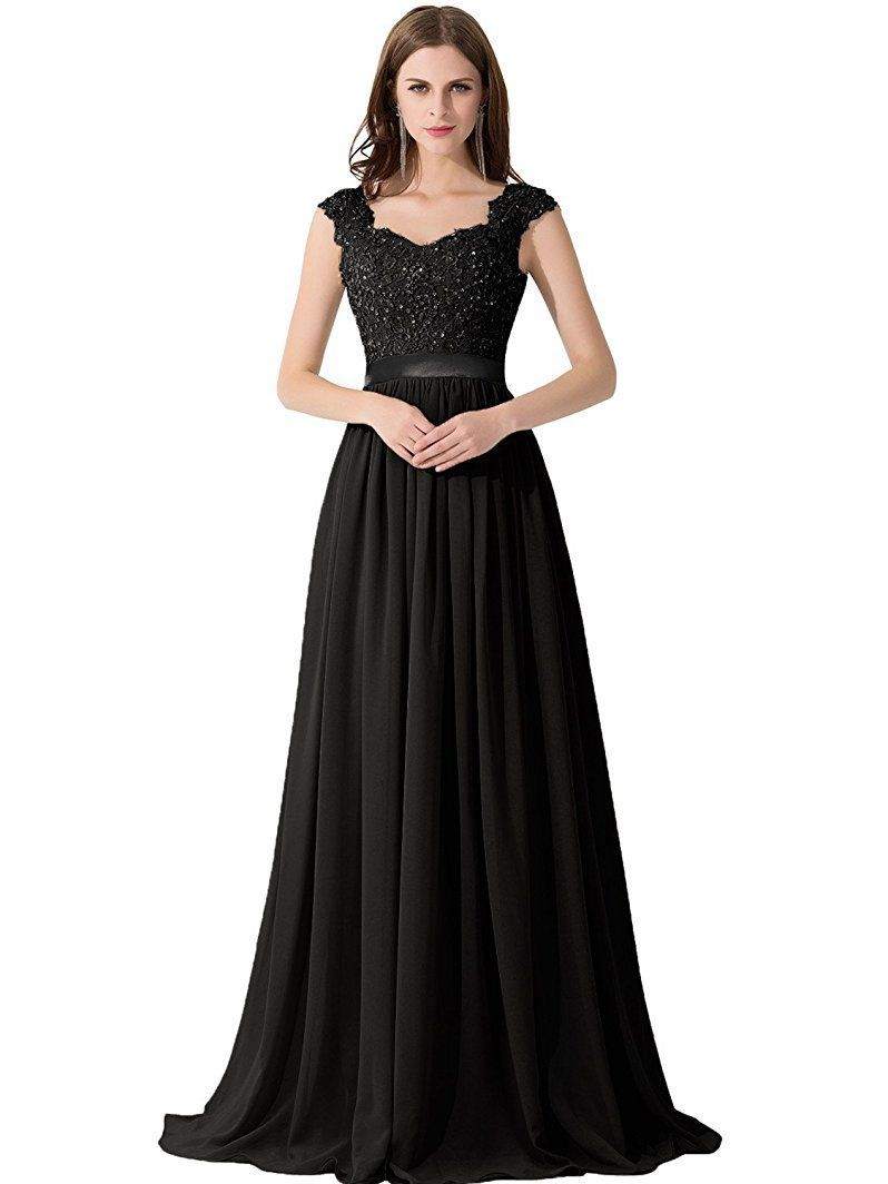 Cap sleeve bridesmaid dresses lace beaded see through black chiffon