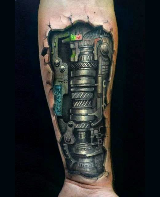 18813a75b 3D Biomechanical tattoo | ☆ Biomechanical Tattoos ...
