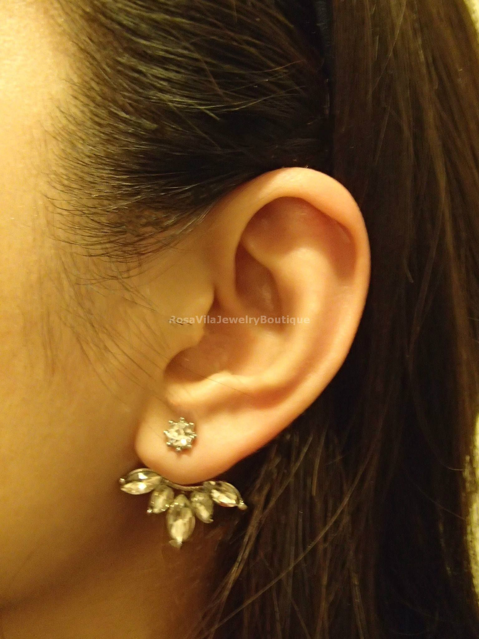 Diamond ear jacket flower ear cuff ear climbers leaf ear crawlers