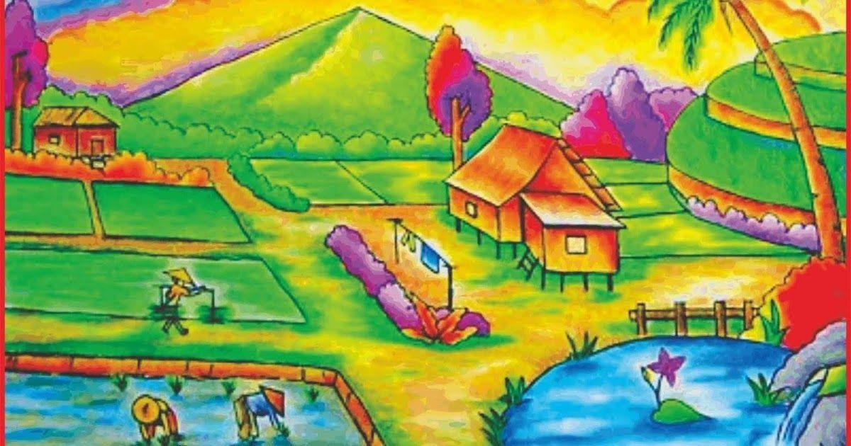 Kumpulan sketsa gambar pemandangan alam pantai gunung dan