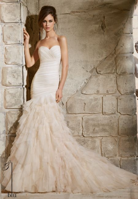 Wedding Gown 5369 Asymmetrically D Soft Net With Ruffles