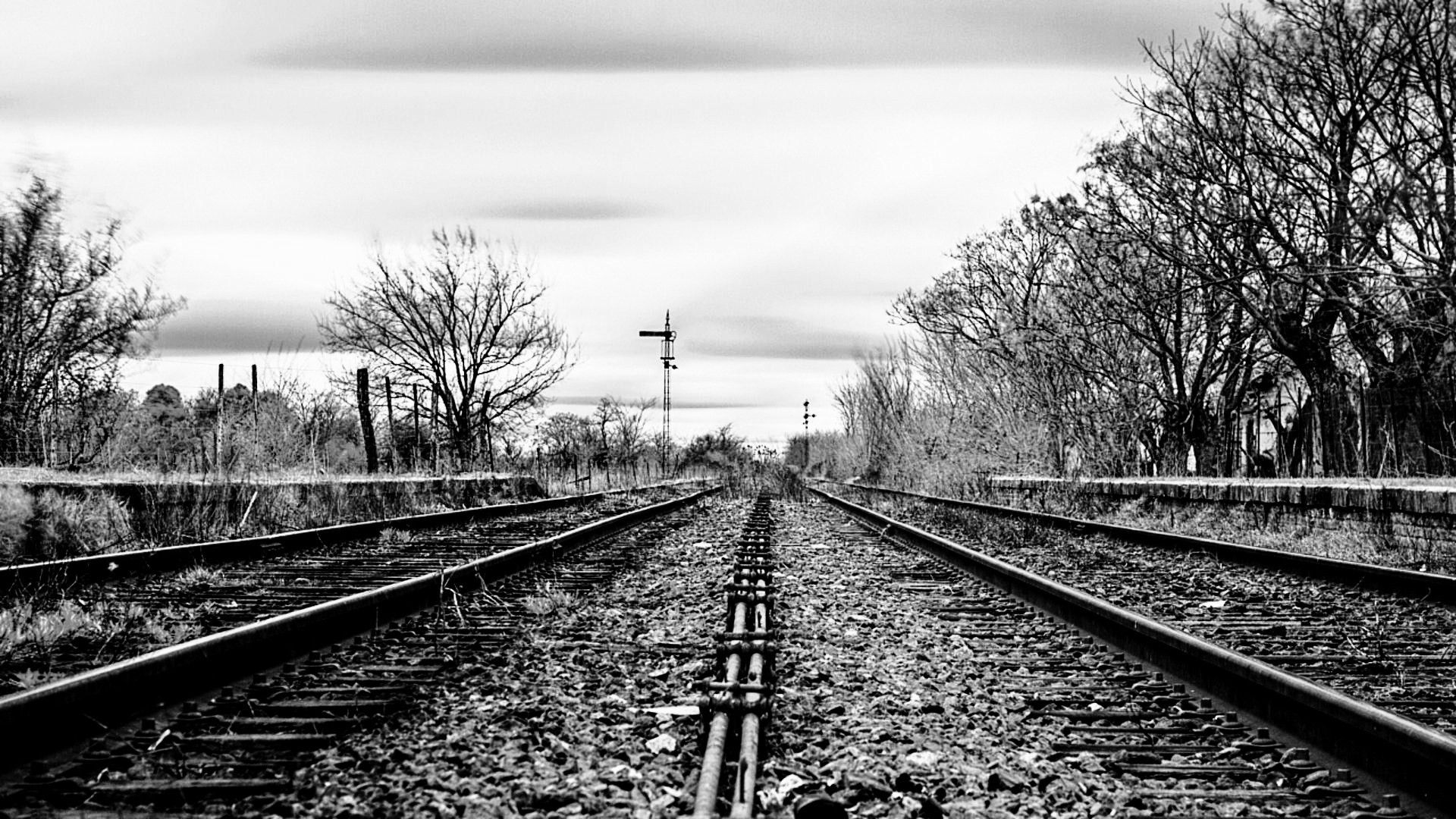 Hd wallpaper photography - Download Railway Track Black And White Photography Hd Wallpaper