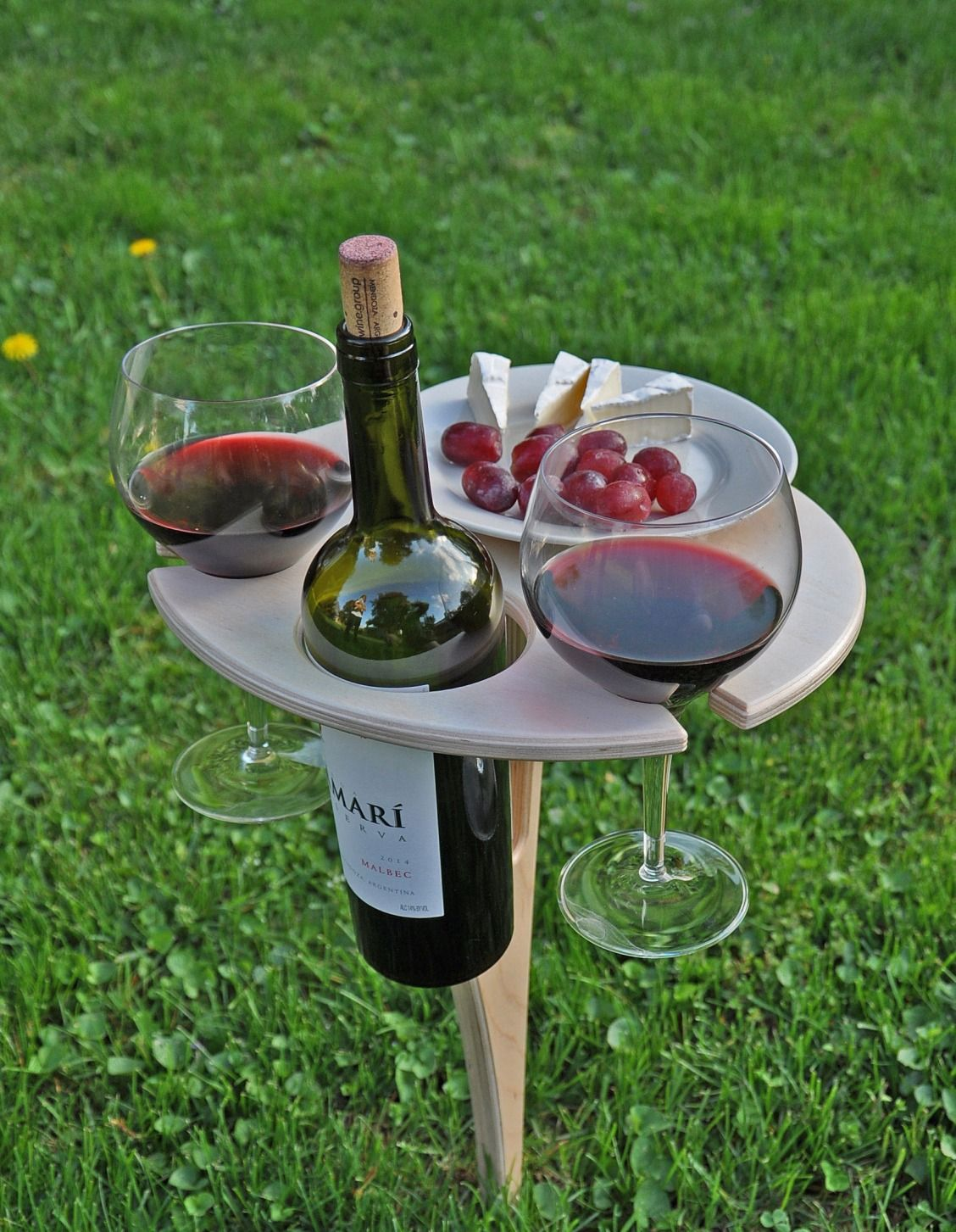 Wooden Drink Holder A Portable Table With Holders For Wine It 39s What Summer