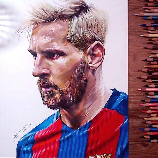 Drawing Lionel Messi Leomessi Lionelmessi Messi Drawing Coloredpencil Drawholic Prismacolor Portrait Fcbar Lionel Messi Messi Drawing Soccer Drawing