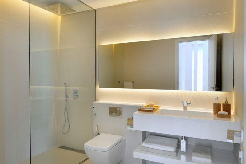 badezimmer kleines spiegel beleuchtung indirekt glasdusche | Bad ...