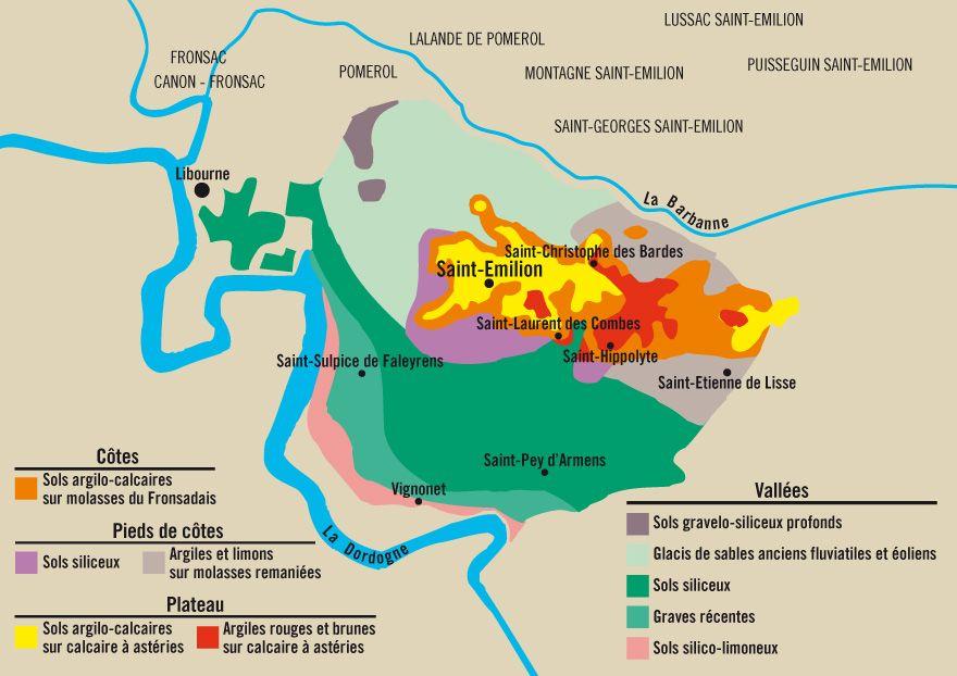 Célèbre Carte des sols Saint Emilion | Wijn | Pinterest | Saint emilion  LI32