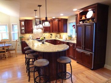 Curved Kitchen Islands With Seating Buffalo Grove Kitchen With 2 Tier Island Curved Kitchen Curved Kitchen Island Countertop Design