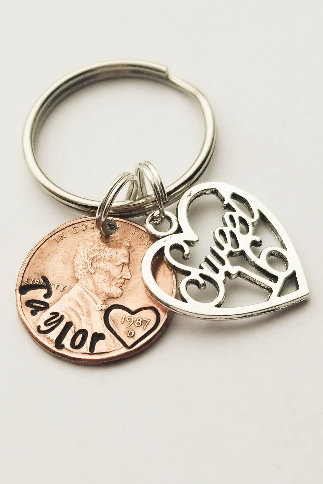 Personalized Sweet 16 PENNY Keychain, Name, for Her
