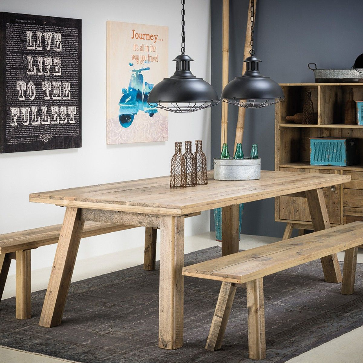 Rustica Dining Table With 2 X Rustica Benches Package
