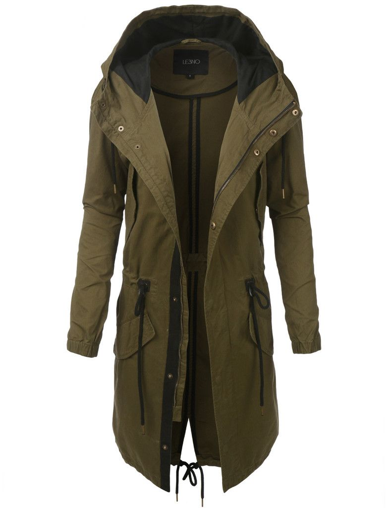 LE3NO Womens Lightweight Long Anorak Parka Jacket with