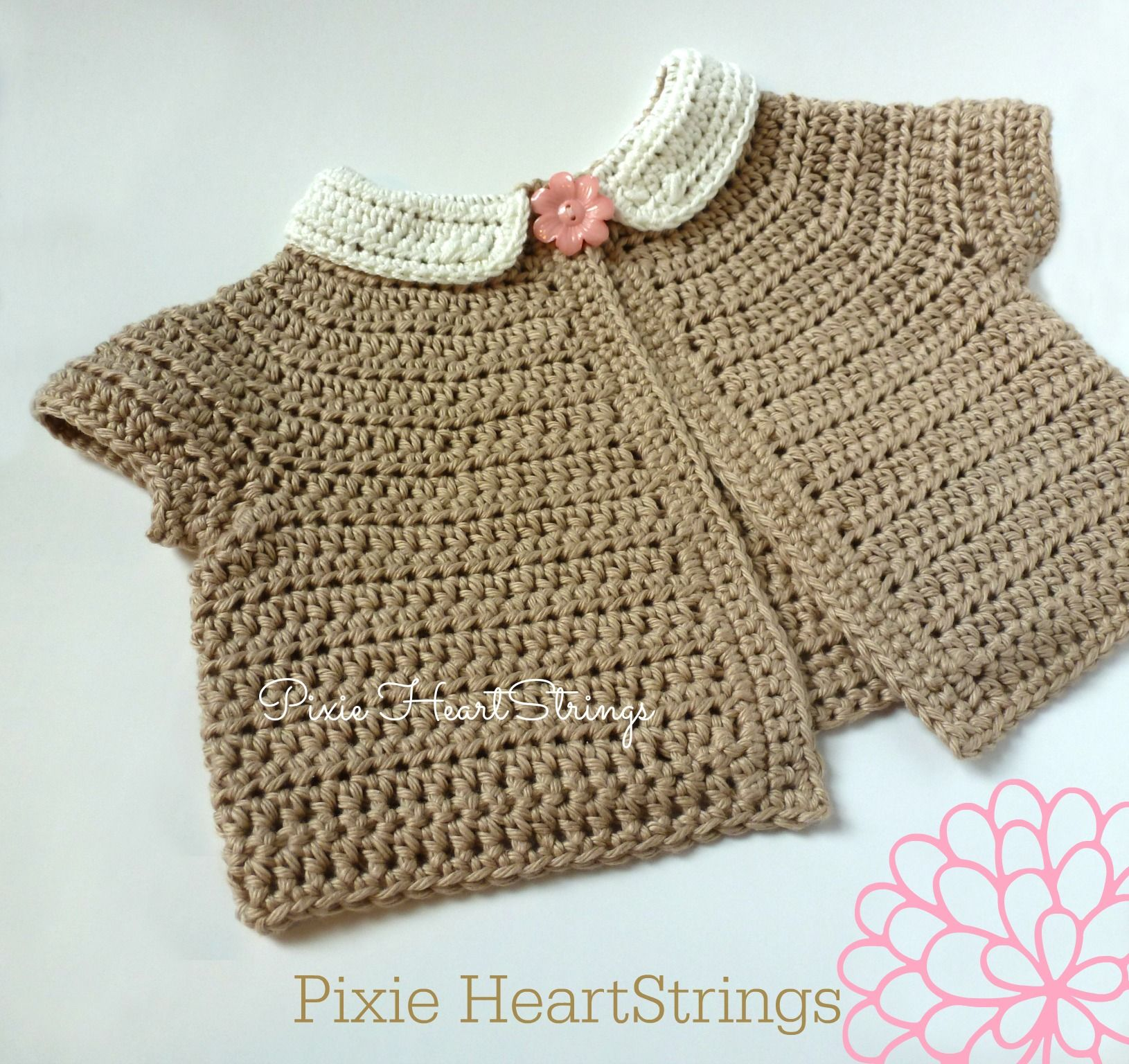 Crochet baby sweater with peter pan collar by pixie heartstrings crochet crochet baby sweater with peter pan collar bankloansurffo Image collections