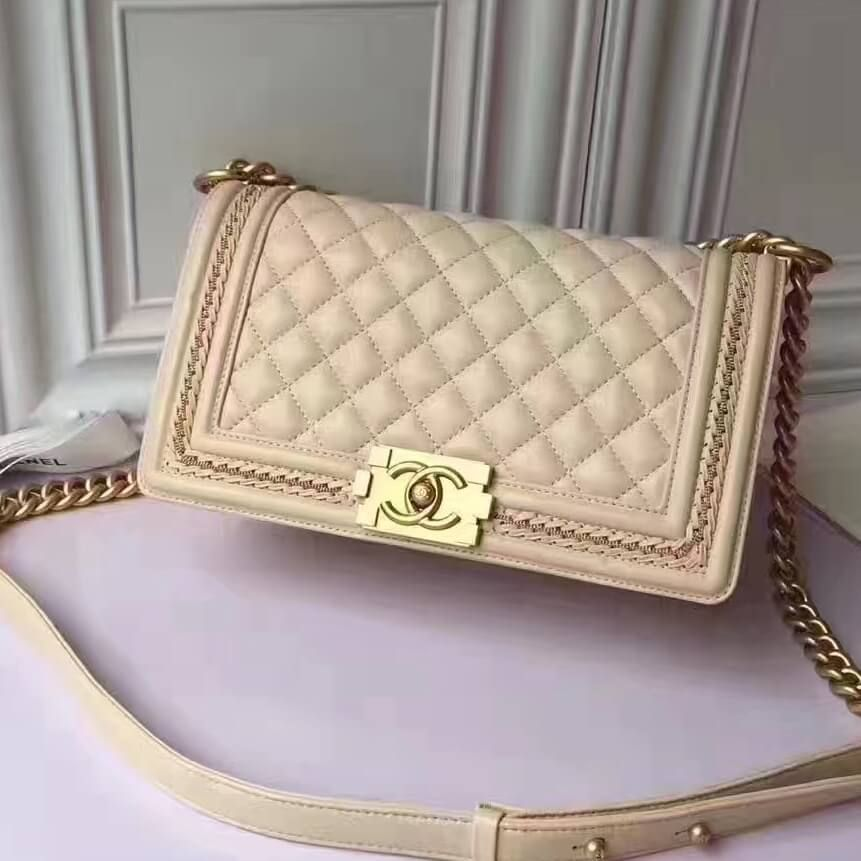 95c0202cd779a4 Chanel Calfskin Medium Boy Chanel Jacket Flap Bag Beige 2017 ...