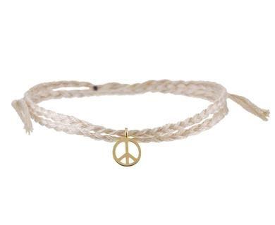 Peace Charm and Cotton Cord Wrap Bracelet