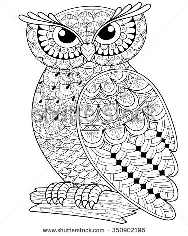 Decorative owl. Adult antistress coloring page. Black and white ...
