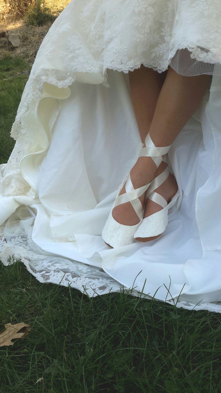 Lace Ballerina Style Bridal Shoe, Ivory Lace Flat Wedding Shoe, Lace ...