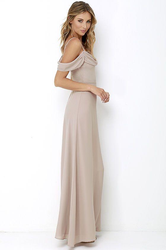 Reflective Radiance Taupe Maxi Dressat Lulus Com Taupe Maxi Dress Brown Maxi Dresses Taupe Bridesmaid Dress Long