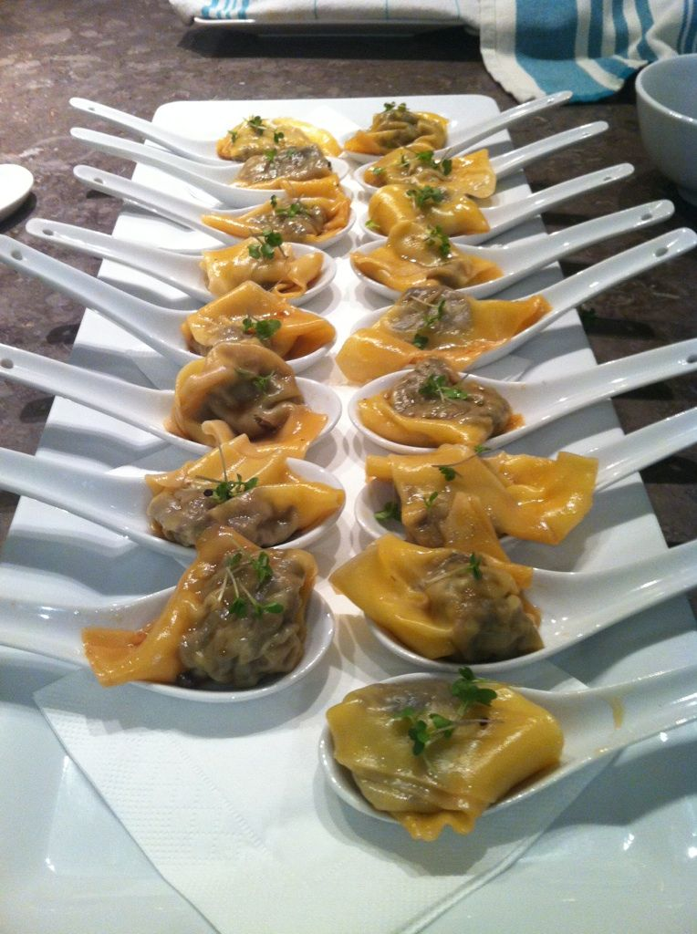 House Made Pork and Ginger Dumplings with Soy and Chilli #Hot Canapes