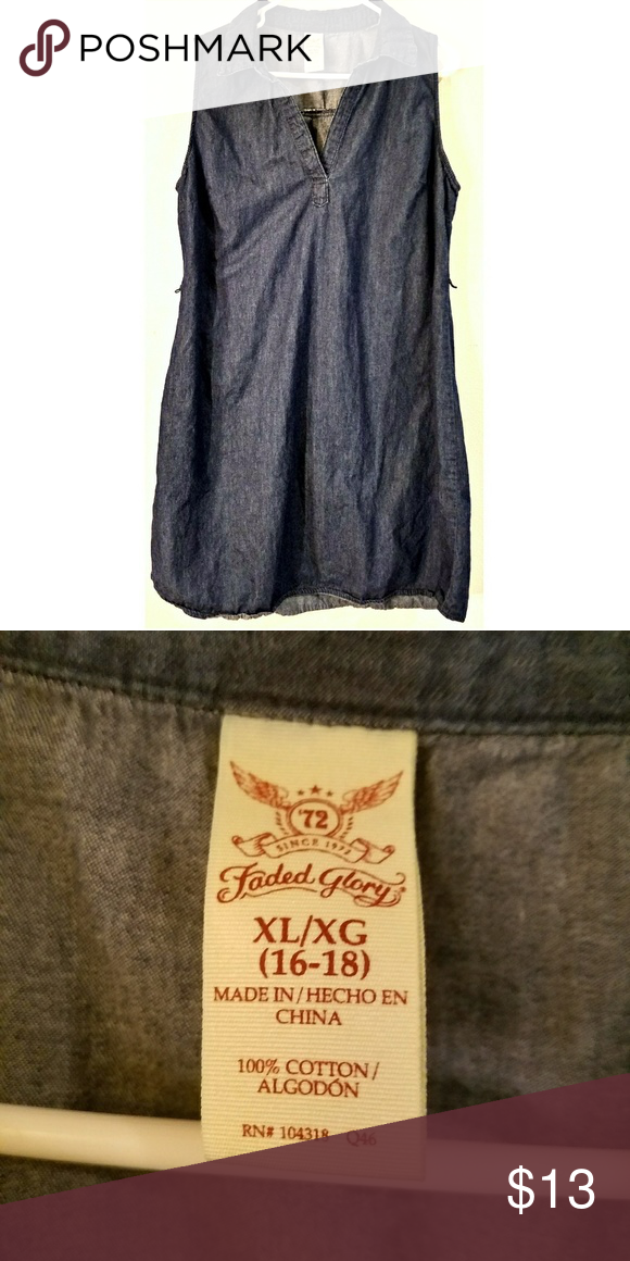 189df37cfc7dff plus size denim dress faded glory sz  16 18 sleeveless jean dress Faded  Glory Dresses Midi