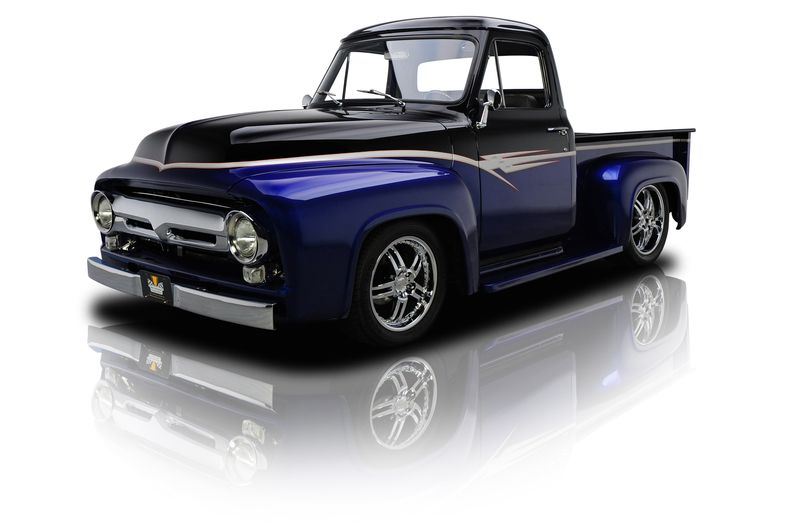 Laser Blue Metallic Black 1955 Ford F100 Rk Motors Charlotte