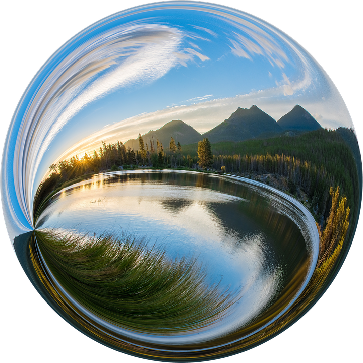 Mountain-Lake reflection in ball  @@@