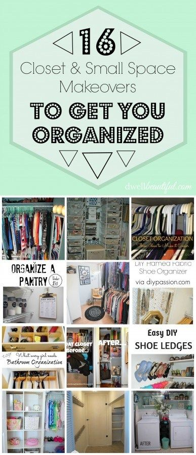 @ericasooter rounds up 16 inspiring closet and small space makeovers to help get you organized in your closet, bathroom, laundry room and pantry!