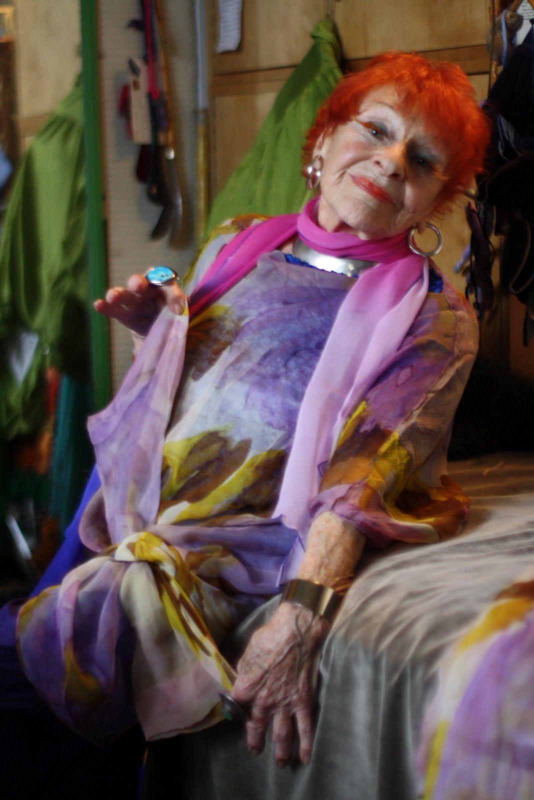 Ilona Royce Smithkin, painter, teacher, beautiful woman in her 90s. Red hair. Photography: Ari Seth Cohen