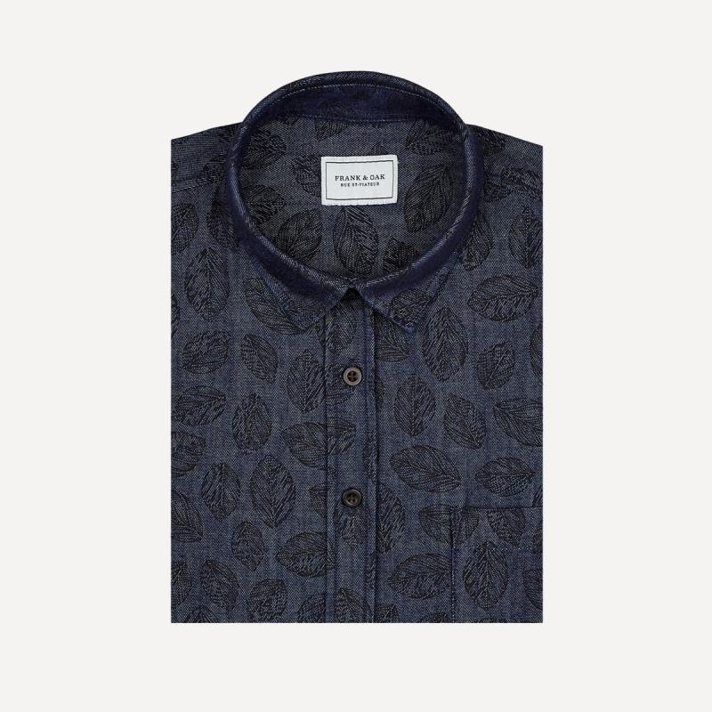 Nature Motif Denim Shirt in Indigo | Frank & Oak