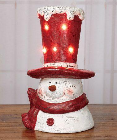 Look what I found on #zulily! Light-Up Snowman Hat Figurine #zulilyfinds