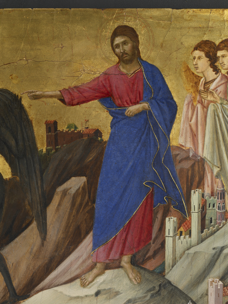Duccio di Buoninsegna, Detail of The Temptation of Christ on the Mountain, 1308-11, tempera on poplar panel, 17 x 18 1/8 inches / 43.2 x 46 cm © The Frick Collection