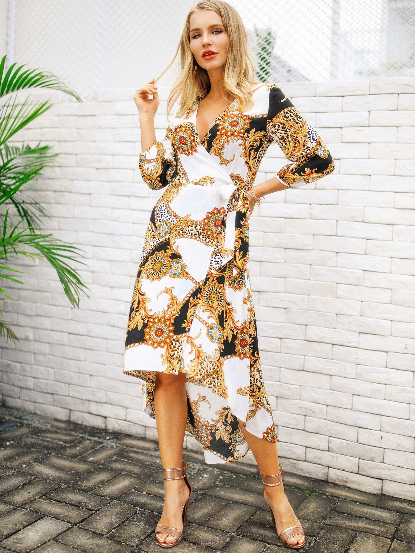 610d15ddf35 ... Geometric Fit and Flare Asymmetrical V Neck Three Quarter Length Sleeve  Natural White Long Length Contrast Leopard & Scarf Printed Knot Side Wrap  Dress