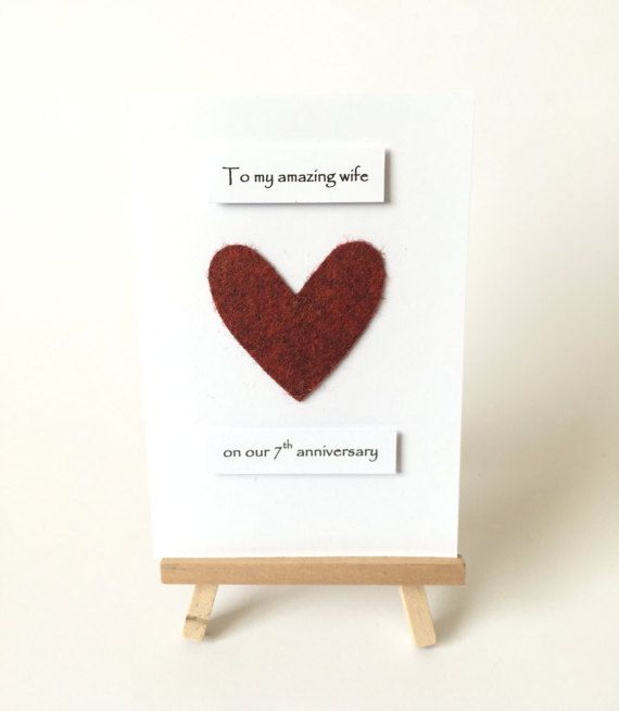 7th Wedding Anniversary Gift Ideas For Her: 7th Wedding Anniversary Card Wool Anniversary Heart Him