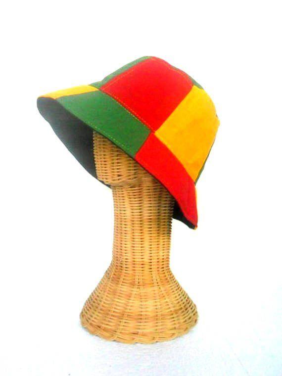 7667361741b Bucket Hat Boho Rasta Hat Hemp Hat Hippie Reggae Bucket hat unisex Cap hat  Bohemian Jamaican hat Sun