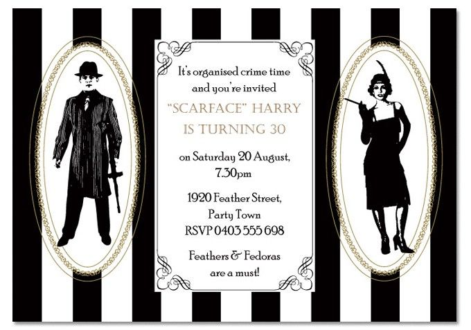 Gangster Birthday Invitations Invitations THEMED Birthday - 1920s party invitation template