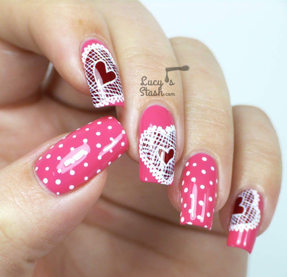 Lace Hearts Nail Art - Valentine\'s Day Design | Nail nail and Makeup