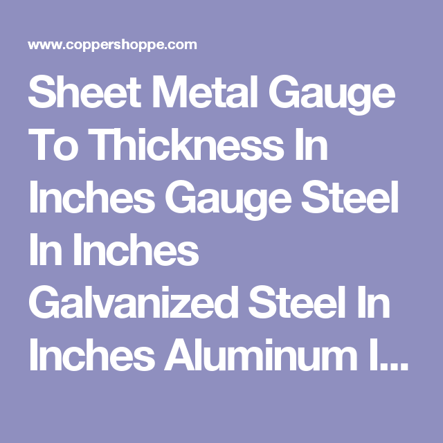 Home The New Coppershoppe Com Sheet Metal Gauge Galvanized Steel Sheet Metal