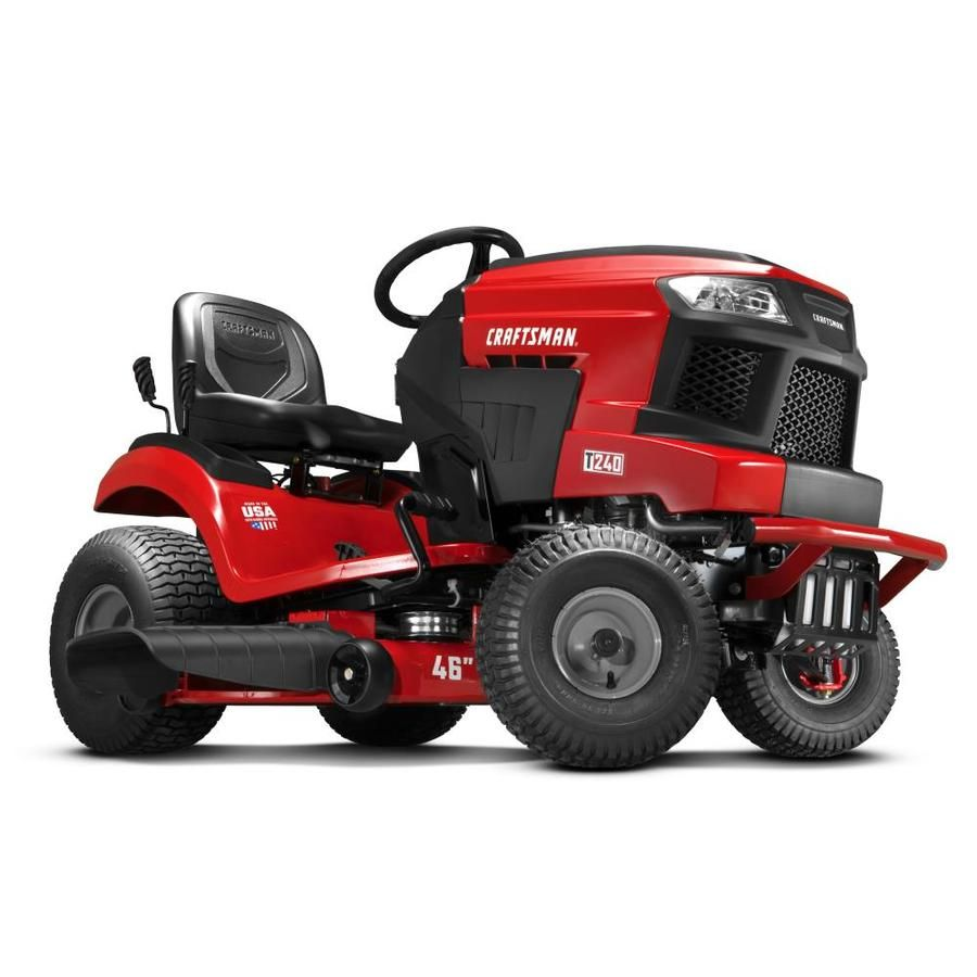 Craftsman T240 Turn Tight 22 Hp V Twin Hydrostatic 46 In Riding Lawn Mower With Mulching Capability Kit Sold Separately Lowes Com Riding Lawn Mowers Lawn Mower Mulching