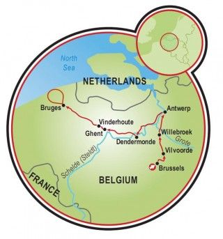 Bruges France Map.Brussels To Bruges Bike And Boat Tour Map Cycling Route Maps