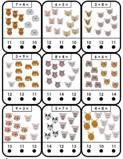 free printable flashcards friendly cats animals addition facts ...