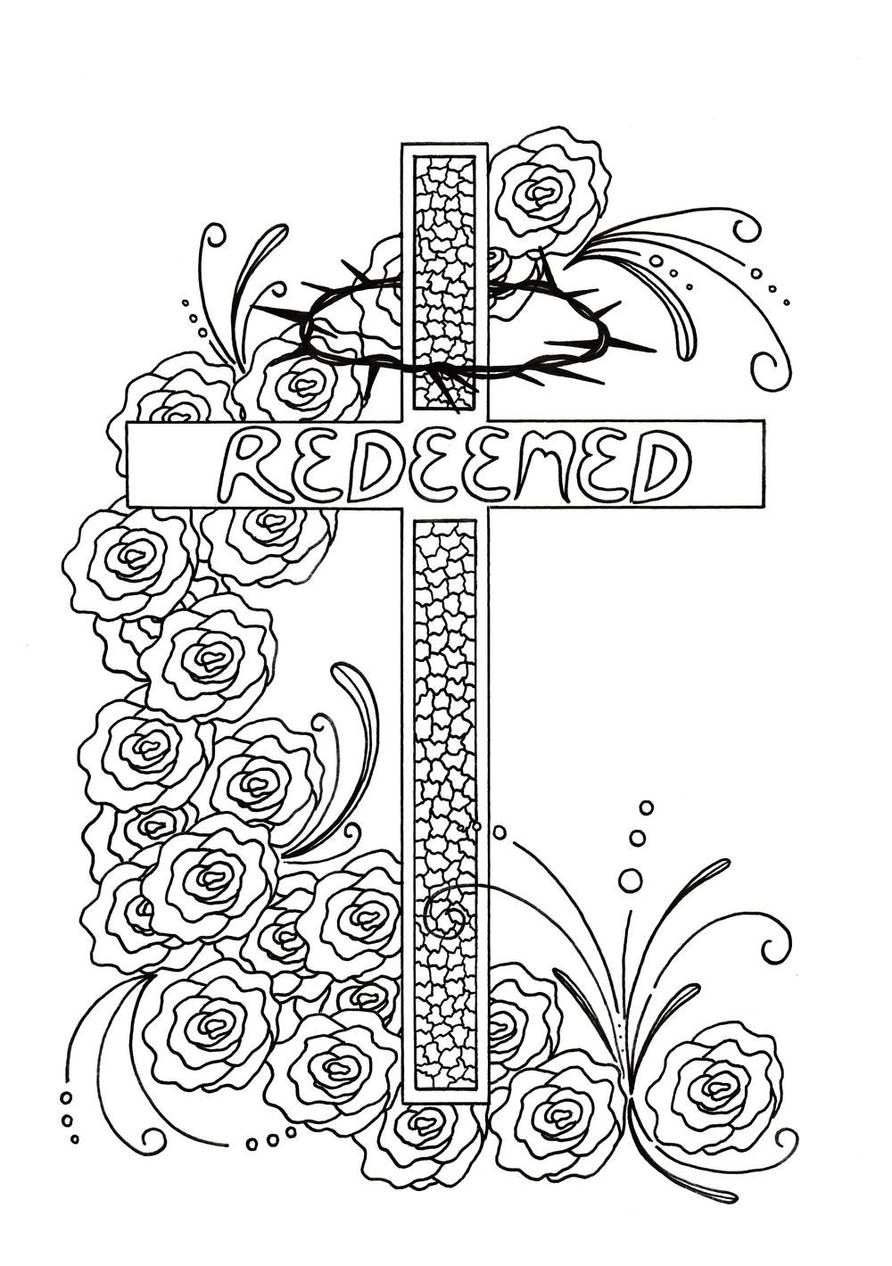 Redeemed Adult Coloring Page | Easter / Last Supper / Communion ...