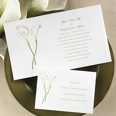 An embossed flourish embraces the two calla lilies appearing by your an embossed flourish embraces the two calla lilies appearing by your wording on this white non folding invitation 8 12 x 5 these invitations are stopboris Gallery