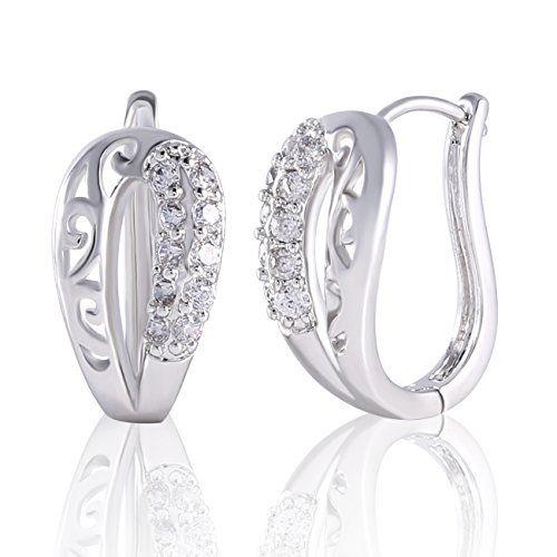 GULICX Silver Tone White Crystal Design Sparkle Women Girl Dangle Earrings