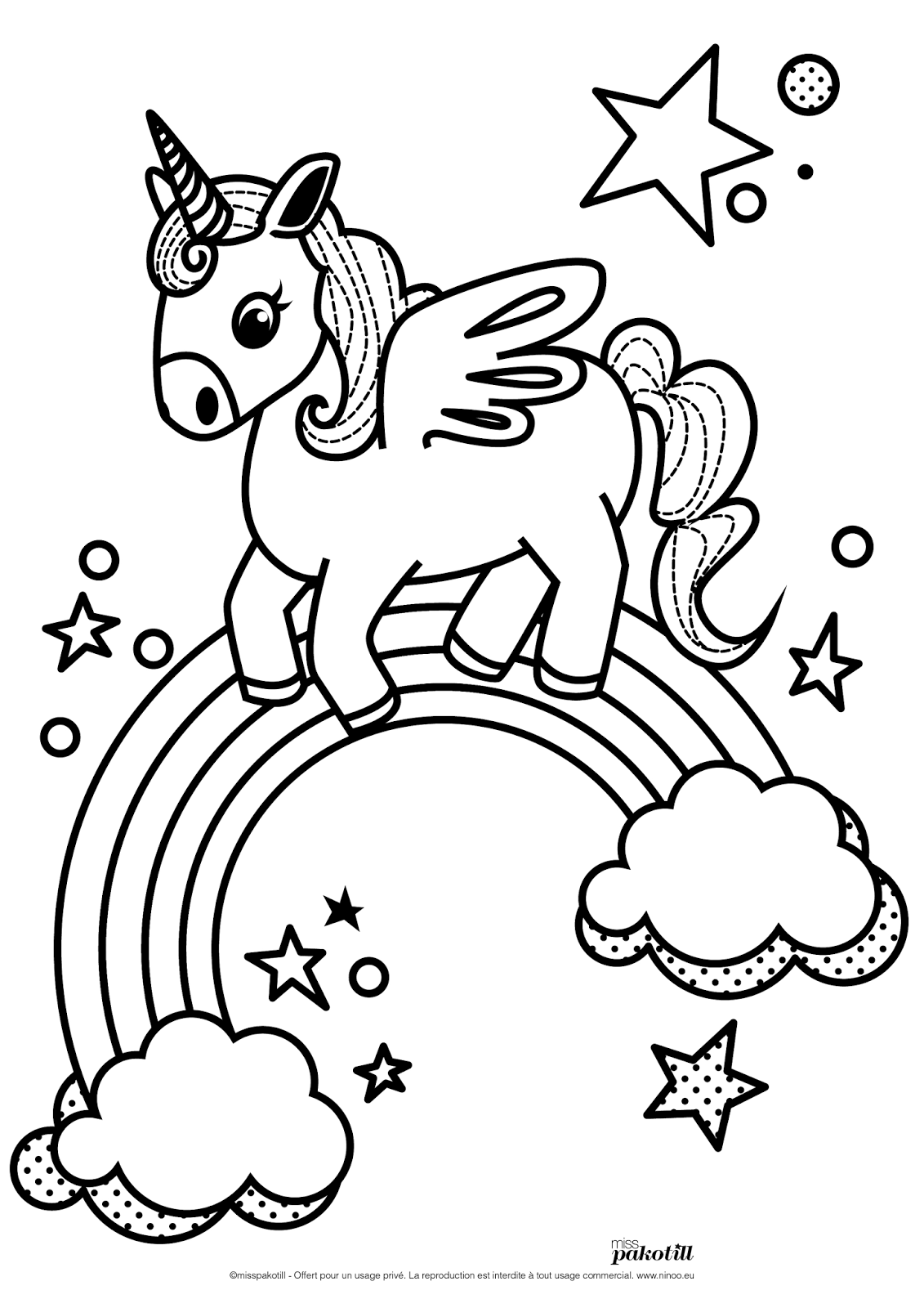 Miss pakotill draw on monday 5 coloriages pour l 39 association ninoo unigoose licorne - Dessins a colorier gratuit ...