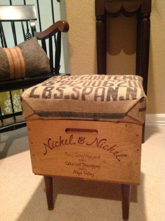 Enjoyable Reserved For Lisa E Wine Box Ottoman Storage By Frankydiablos Diy Chair Ideas Frankydiabloscom