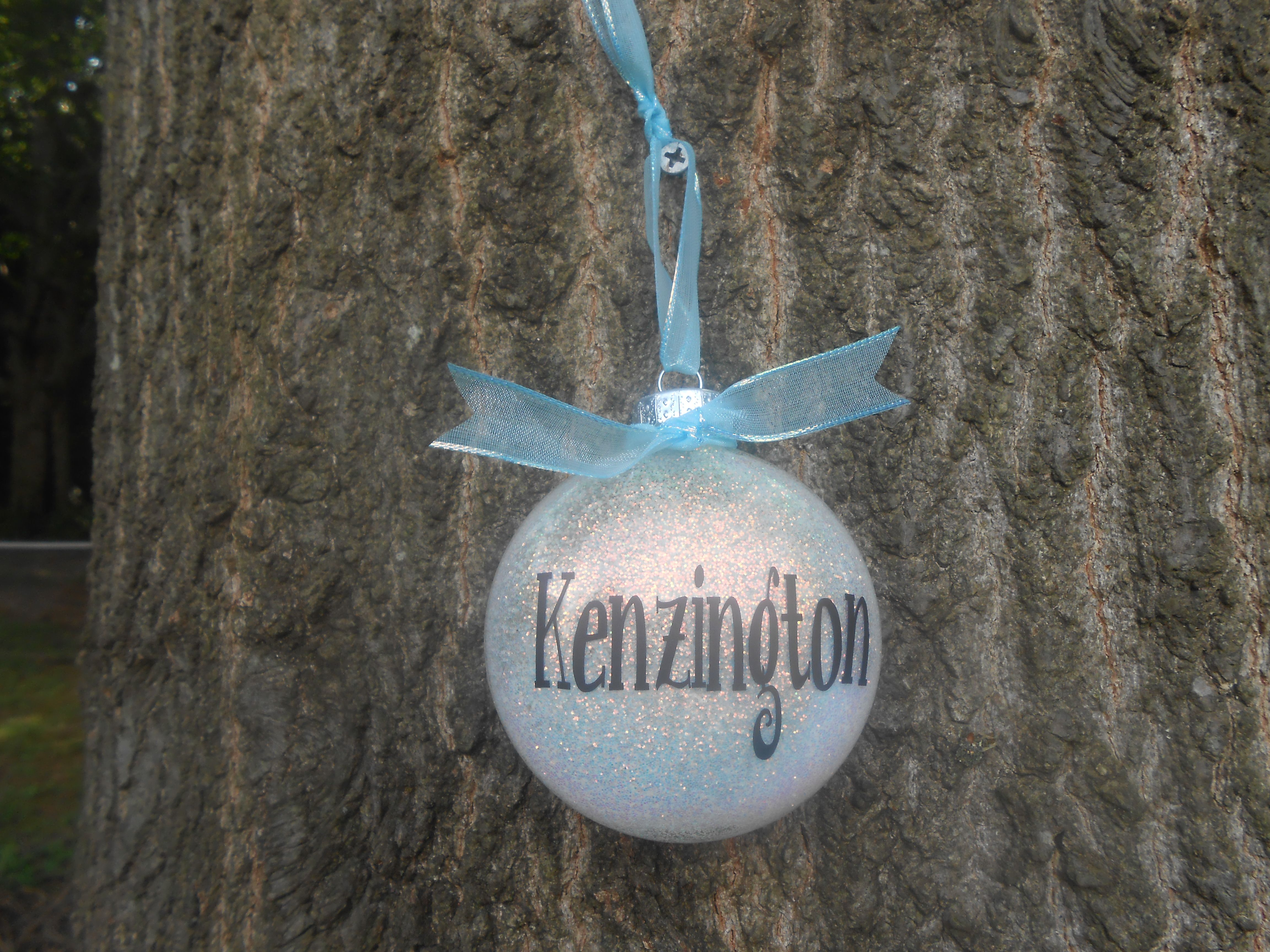hairspray and glitter ornament... personalized with my
