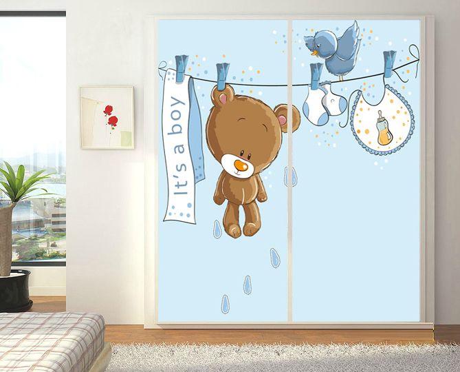 Cheap Blu Cartoon orso wall stickers home decor per bambini camera da letto…  adesivi murali ...