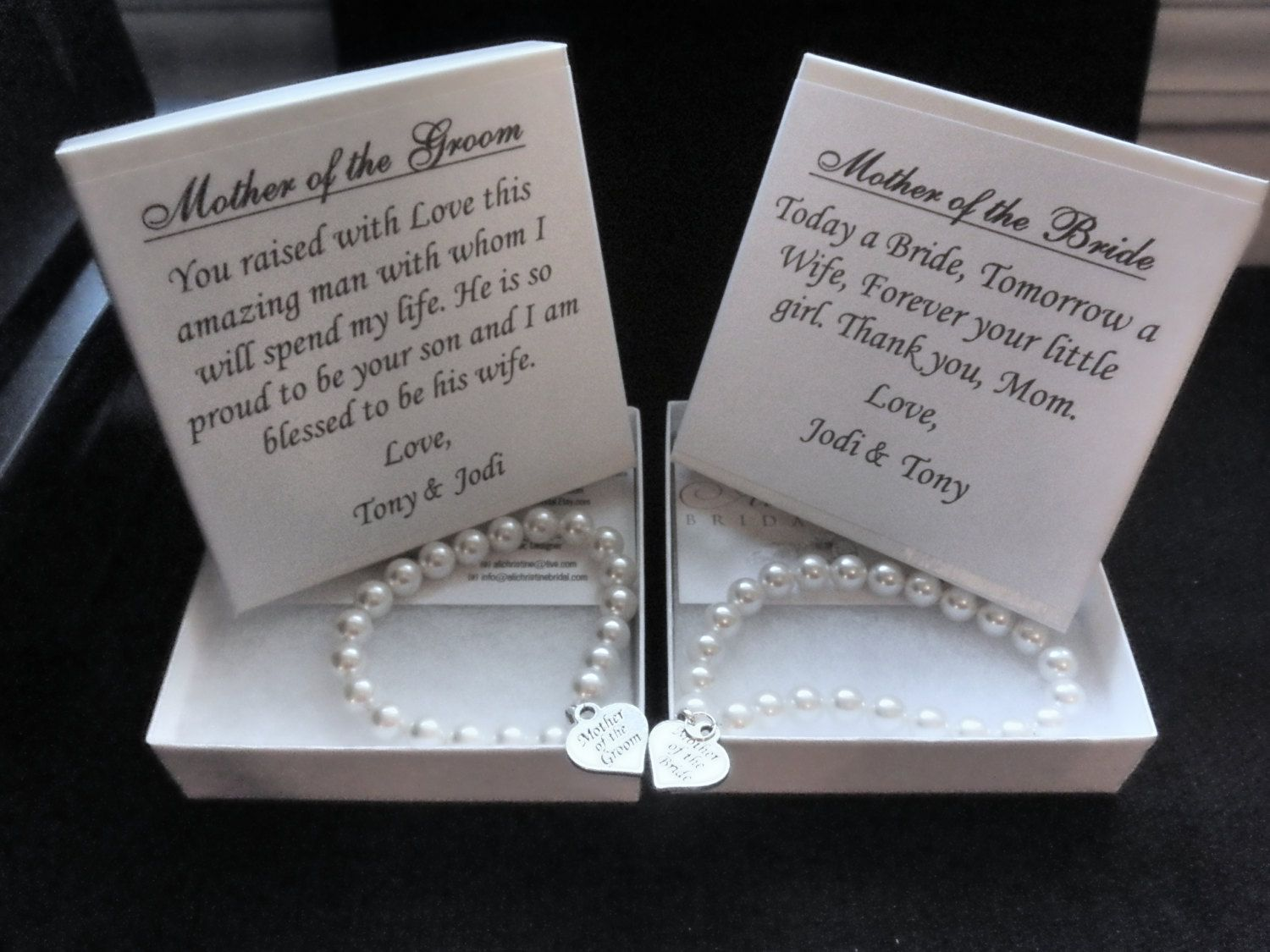 Mother Of The Groom Gift: Mother Of The Bride Pearl Bracelet Gift Set, Mother Of The