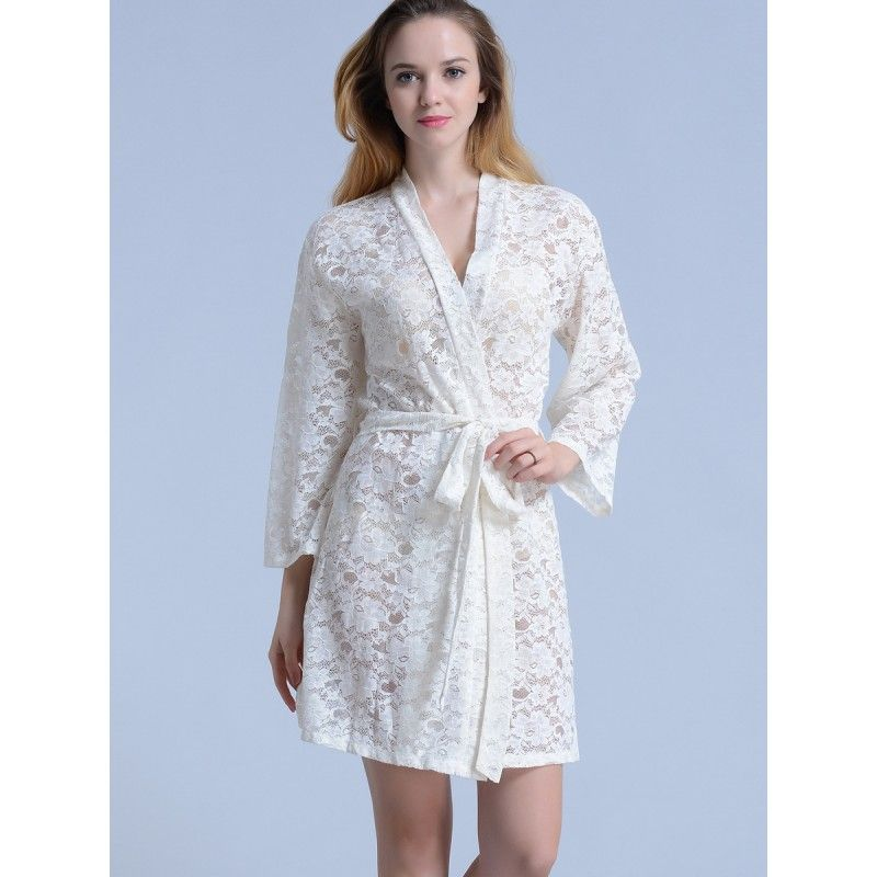 Bridal white lace kimono robes   Brainstorm Wedding   Pinterest